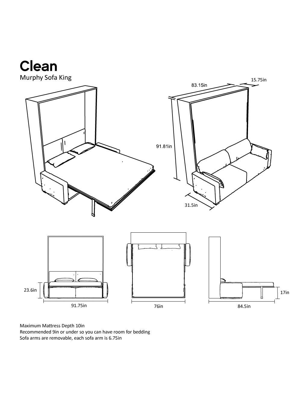 murphysofa Dimensions wall bed clean king