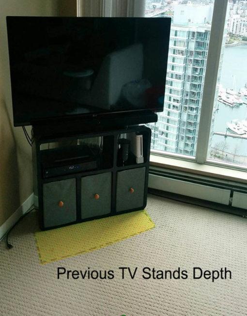 Slender TV stand needs less room