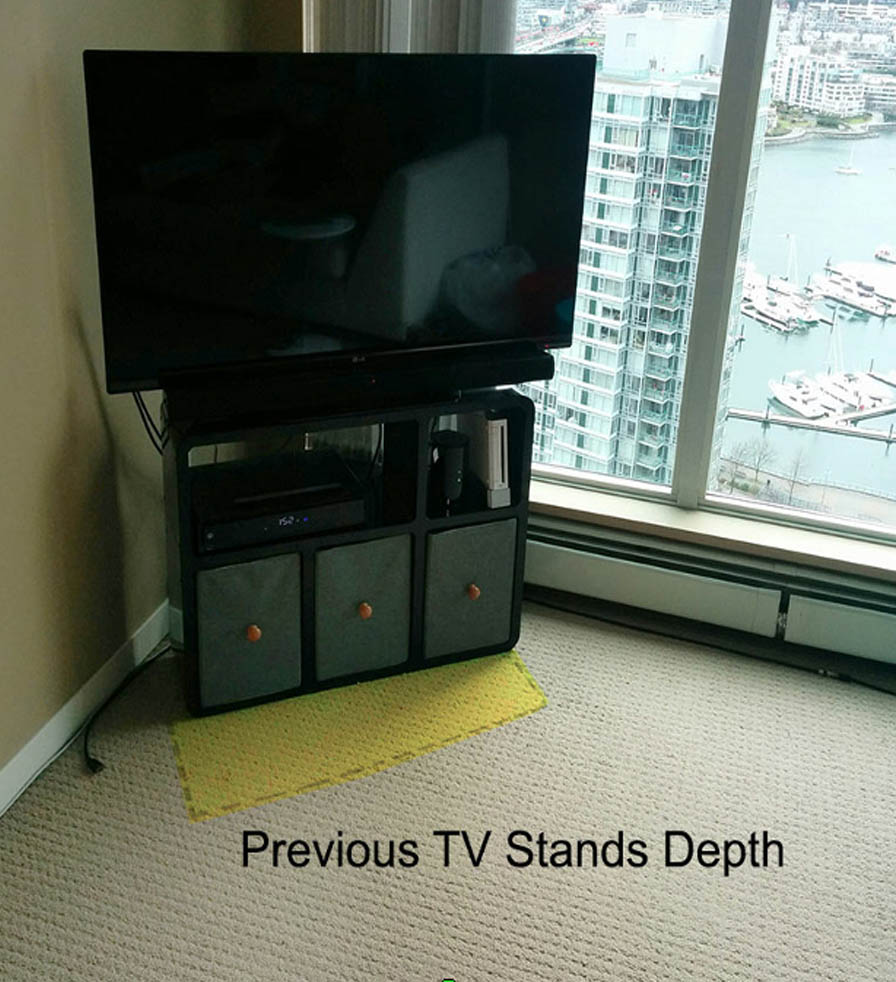 Slender TV stand needs less room