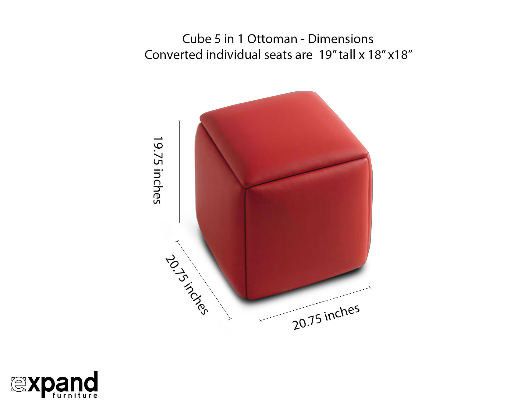Cube 5 In 1 Ottoman Seat Space Saver Expand Furniture