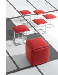 Transforming Cube-5-in-1-ottoman chairs expanded-in-red-fabric