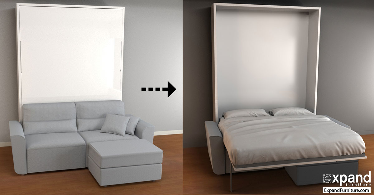 Wall sofa murphysofa wall beds fold perfectly over sofas for Couch loveseat combo