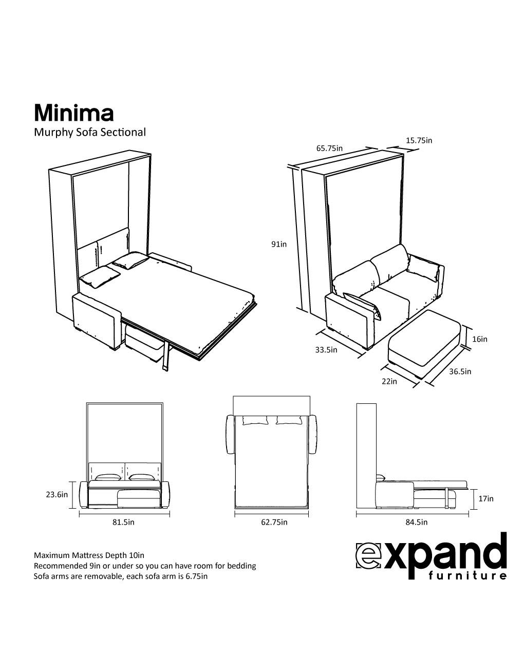 Murphysofa Minima Queen Mini Sectional Expand Furniture