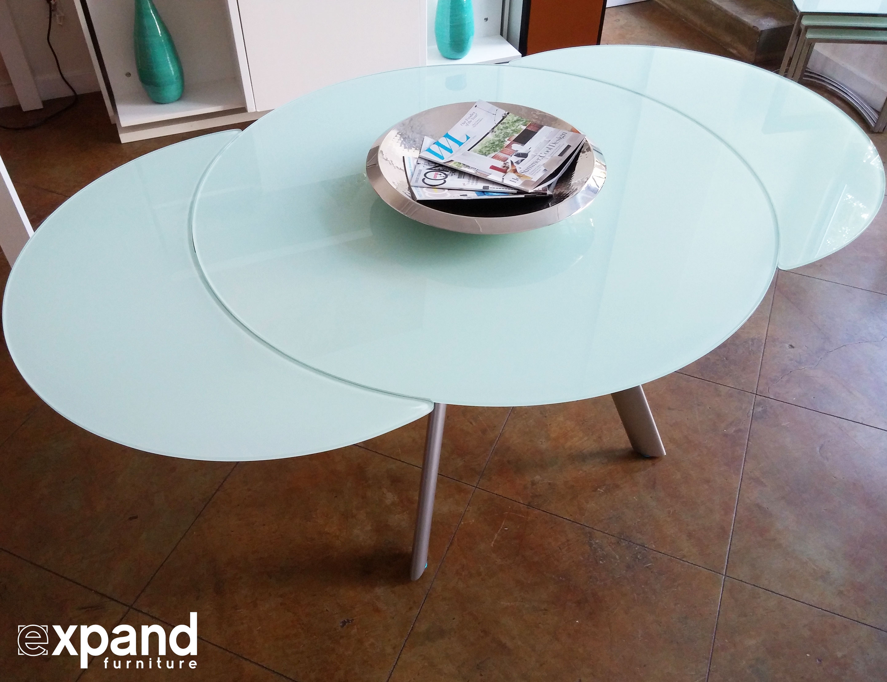 The Butterfly Expandable Round Glass Dining Table Expand  : Butterfly round glass expanded table in white glass from expandfurniture.com size 2888 x 2222 jpeg 664kB