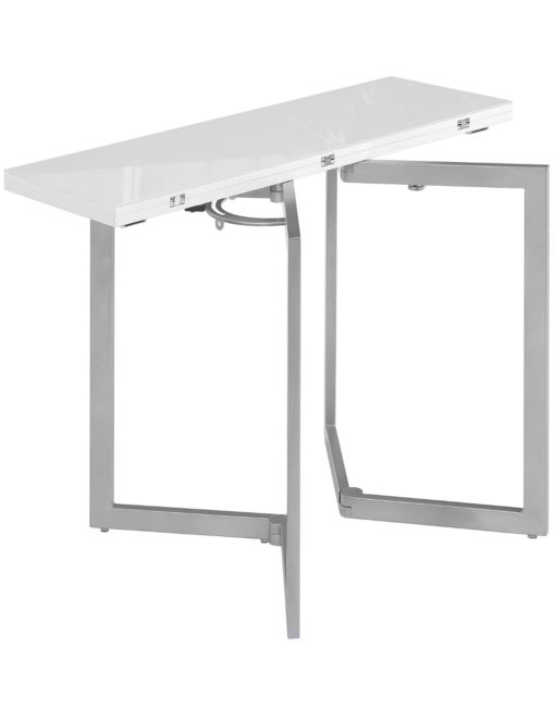 Min Flip console table in white glass - doubles in size