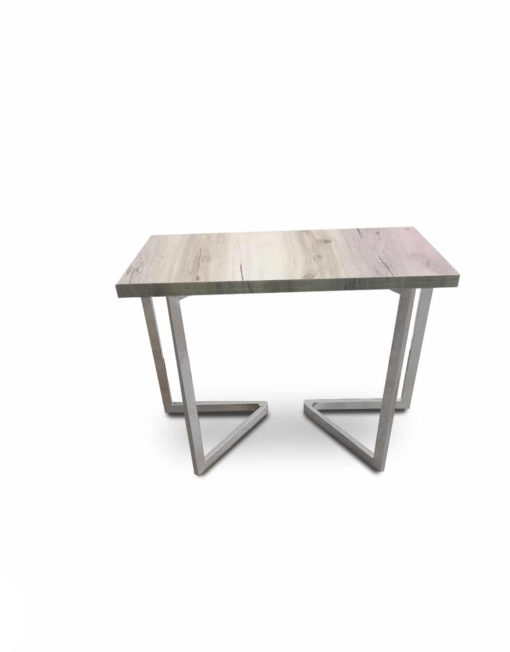 Mini-Flip-Console-to-dining-table-in-driftwood-and-silver