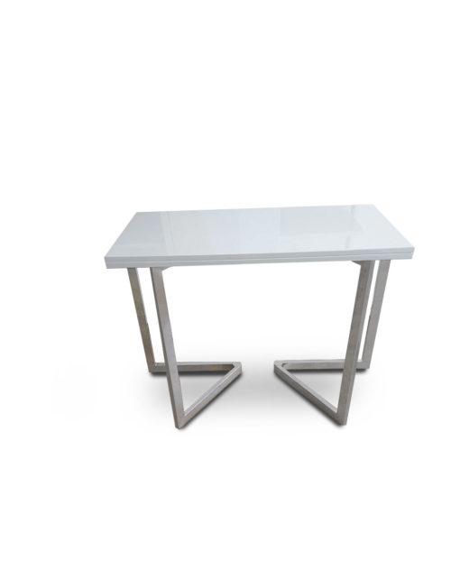 Mini-Flip-Console-to-dining-table-in-glossy-white-and-silver-legs