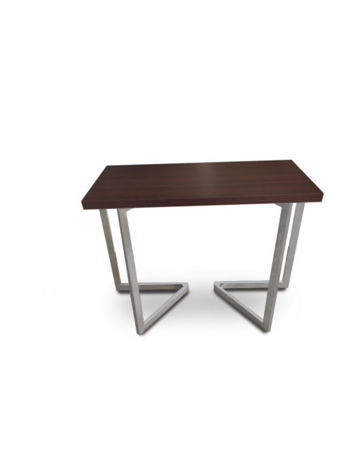Mini-Flip-Console-to-dining-table-in-walnut-with-silver-legs