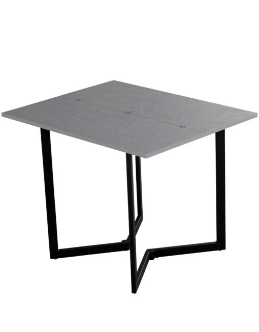 Mini Flip in concrete texture with black legs - console convertible table for apartments