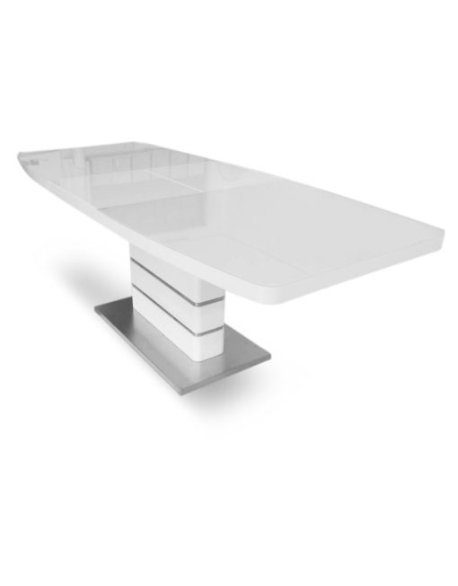 Opulent-extending-glass-dinner-table-with-thick-base-for-kitchen-or-apartment