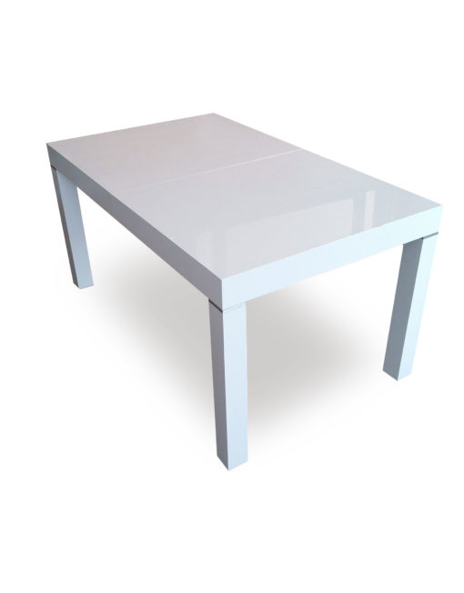 White gloss Pillar table extends to seat 12