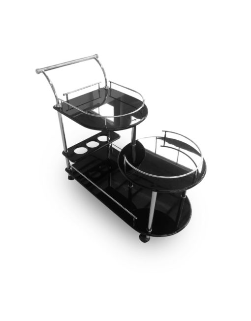 Step-Multi-Height-serving-trolley-in-black-gloss-&-silver