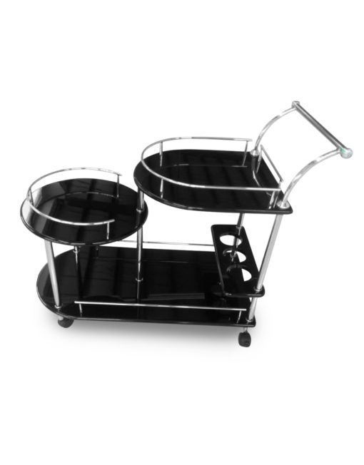Step-serving-trolley-in-black-gloss-&-silver