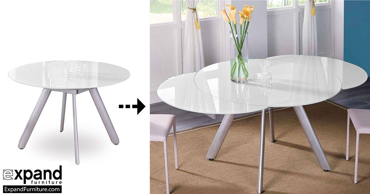 The Butterfly Expandable Round Glass Dining Table Expand