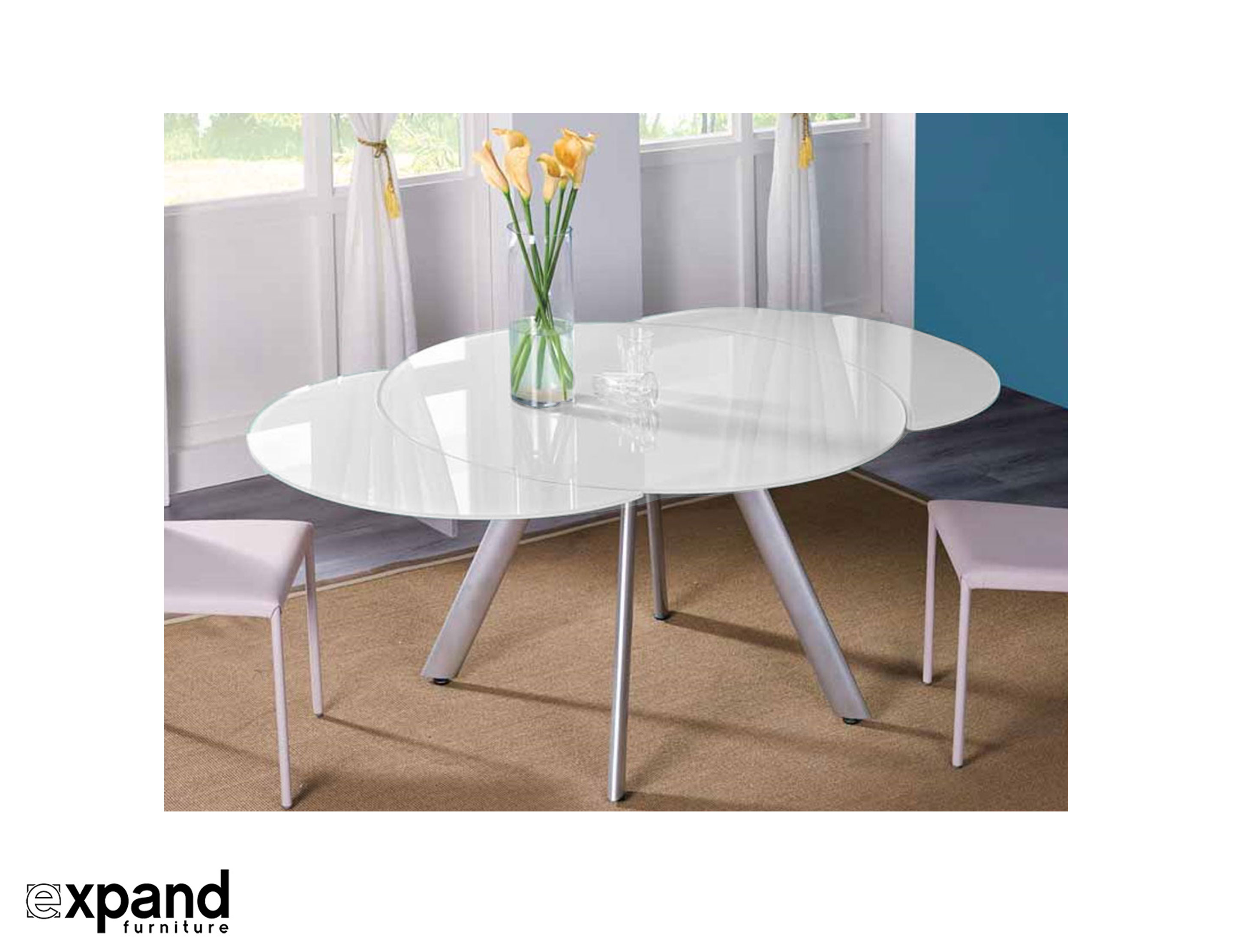 The Butterfly Expandable Round Glass Dining Table Expand  : butterfly round glass extending table from expandfurniture.com size 2888 x 2222 jpeg 330kB