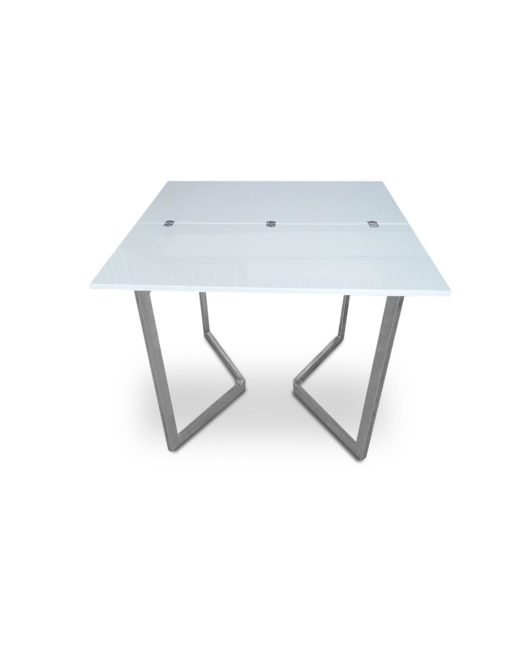 opened-Mini-Flip-Console-to-dining-table-in-glossy-white-and-silver-legs