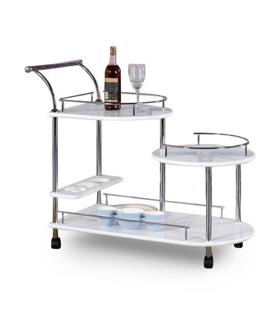 Step Trolley Multiheight Serving Cart Art Deco White