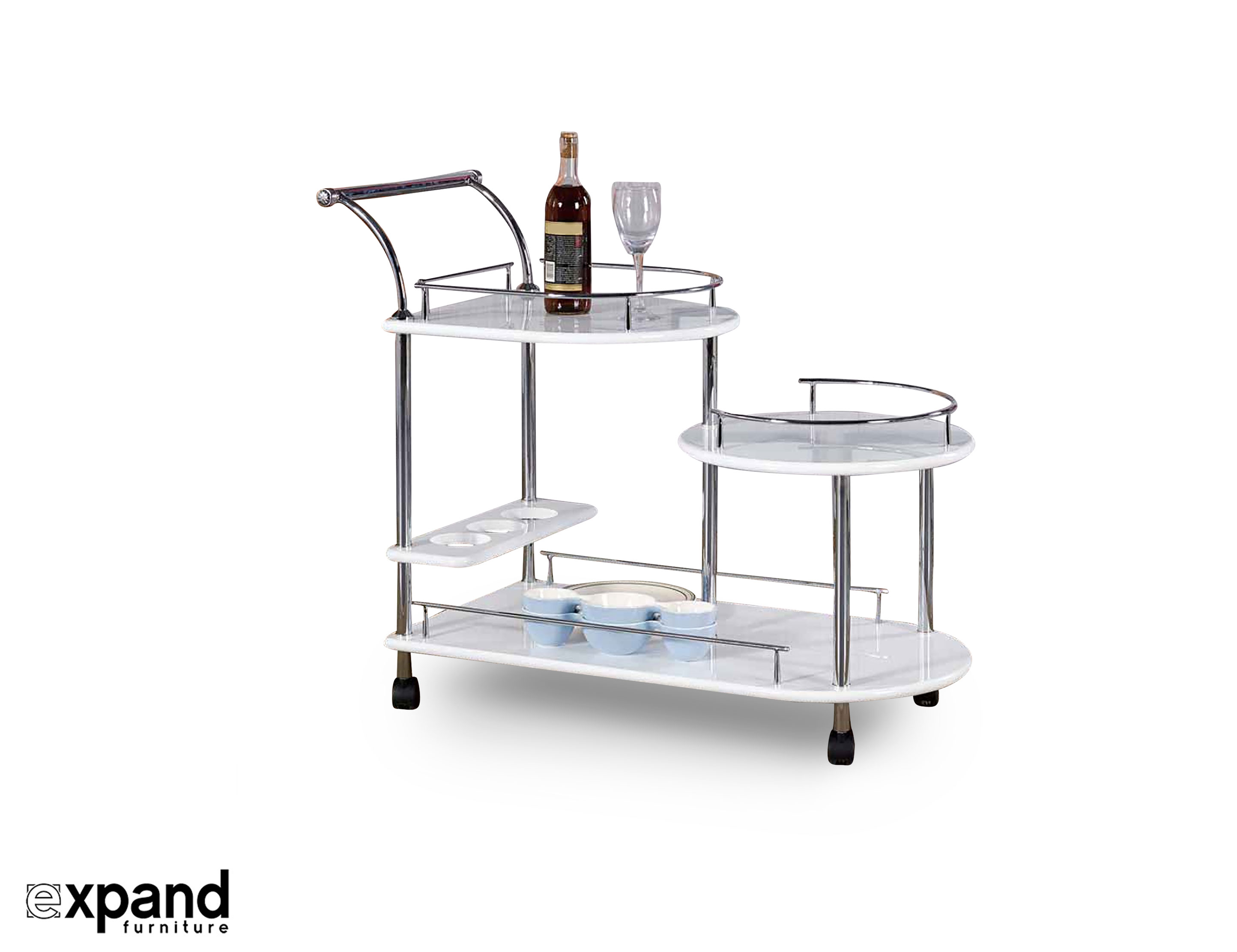Step trolley multi height serving cart expand for Deco table multicolore