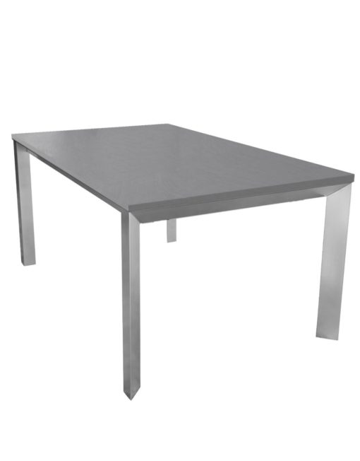 Abode extending table in concrete texture finish with silver legs - expanding dinner table