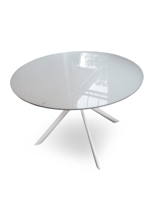 Tide round to elliptical glass kitchen table expand furniture tide round extension white glass table with metal workwithnaturefo