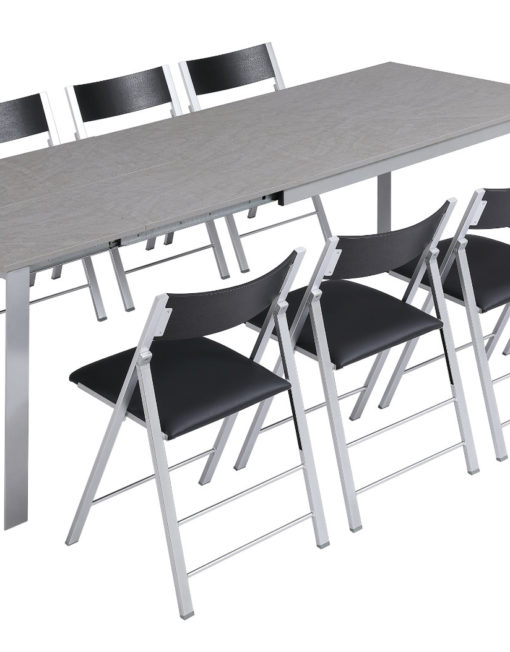 abode in concrete tex with 8 nano chairs in black around it