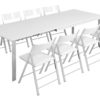 abode in white gloss with 8 nano chairs in white around it
