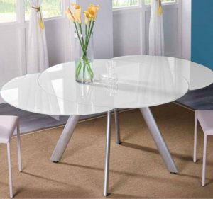The butterfly expandable round glass kitchen table