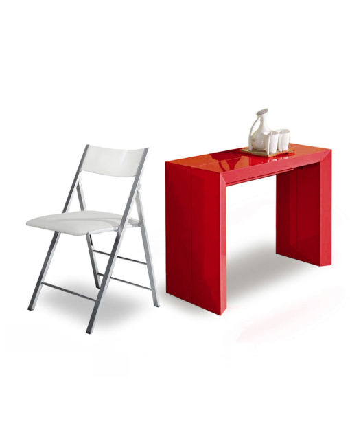 Super Extending Console Table Dining Set In Glossy Red