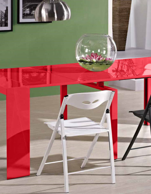 Junior-Giant-Edge-console Dining-Table-in-Red
