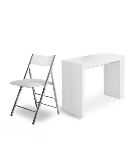 Matte-White-extending-console-transforms-to-dining-table-set
