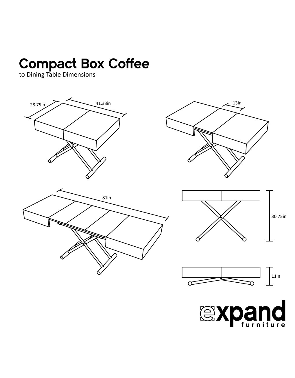 Compact Box Coffee Table That Changes To A Dinner