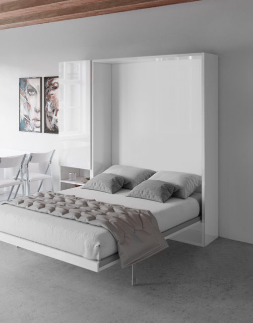 Hover-Queen-Wall-Bed-and-1-cupboards-in-white-gloss-in-a-modern-room