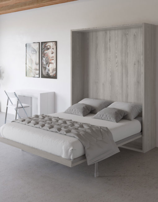 Hover-modern-wall-bed-opened-and-finished-in-Piscina-Grey-pine-wood