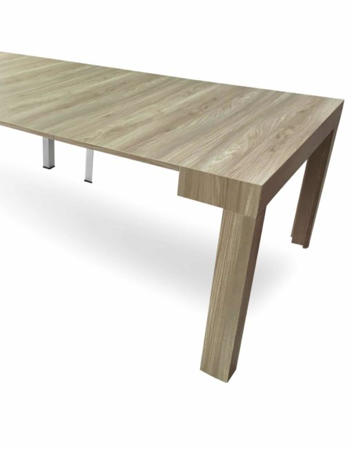 Tiny-Titan-in-aged-light-walnut-finish-in-large-extended-dinner-table-for-12-plus-people