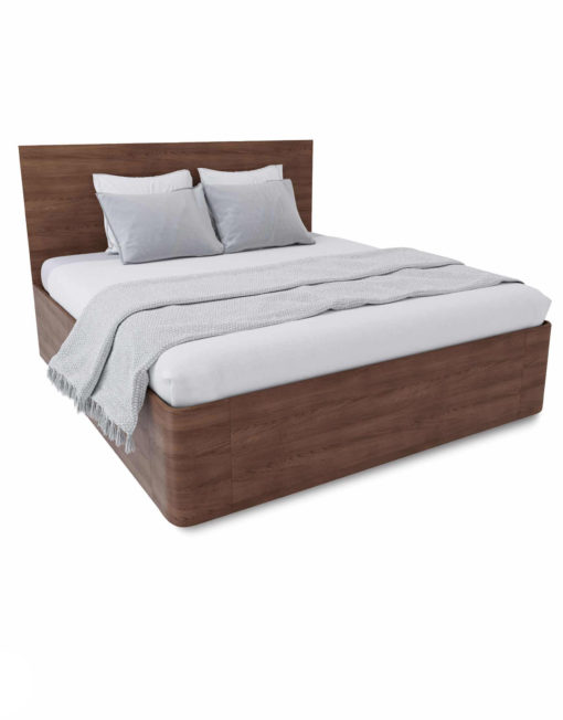 Pratico-King-Lift-storage-bed-in-walnut-wood-curved