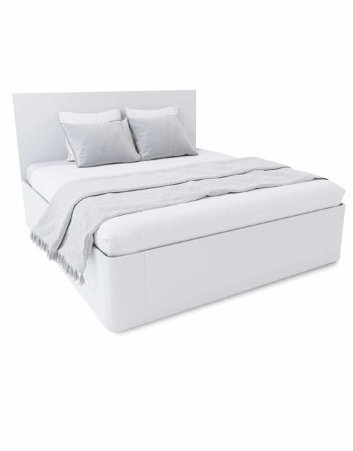 Pratico-King-Lift-storage-bed-in-white-wood-curved