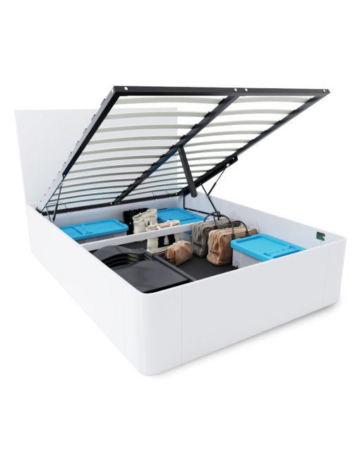 Pratico-White-Storage-lift-bed-opened-up