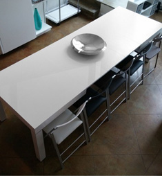 The Pillar White Extending Dining Room Table