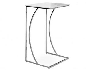crescent tall white glass side table