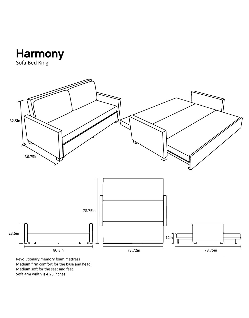 Harmony King Sofa Bed With Memory Foam Expand Furniture Folding Tables Smarter Wall Beds Space Savers