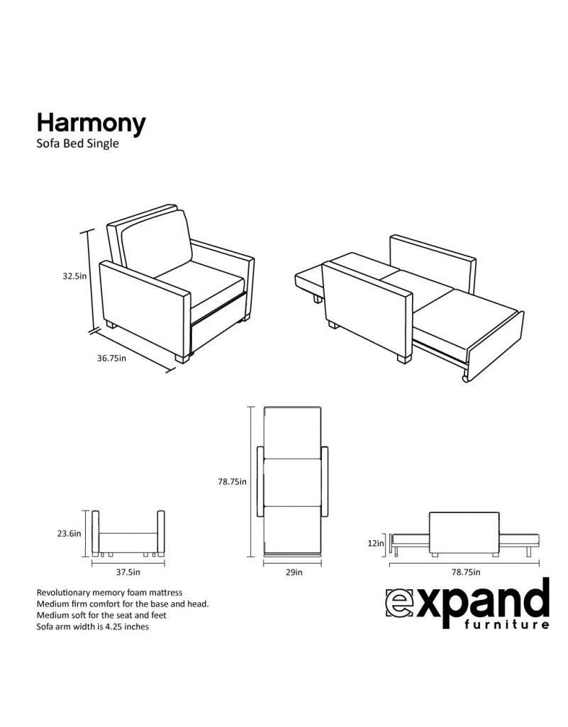Harmony Single Sofa Bed with Memory Foam Expand  : outline harmony single 801x1024 from expandfurniture.com size 801 x 1024 jpeg 55kB