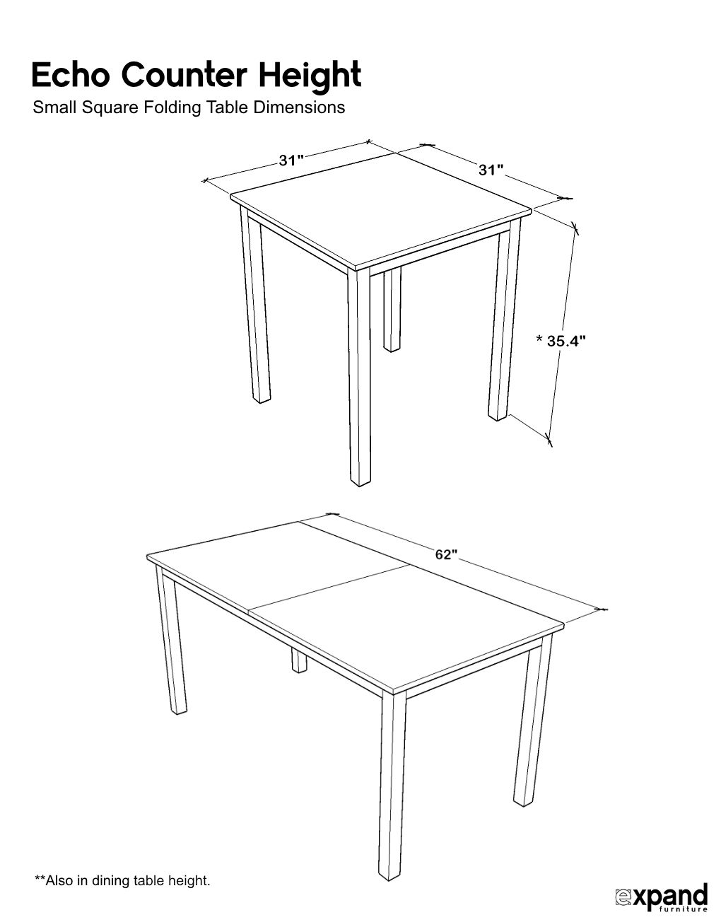 Picture of: Echo Counter Height Transforming Table Expand Furniture Folding Tables Smarter Wall Beds Space Savers