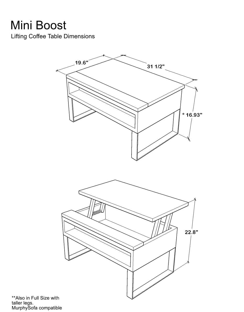 The Mini Boost Small Lifting Coffee Table Expand Furniture Folding Tables Smarter Wall Beds Space Savers