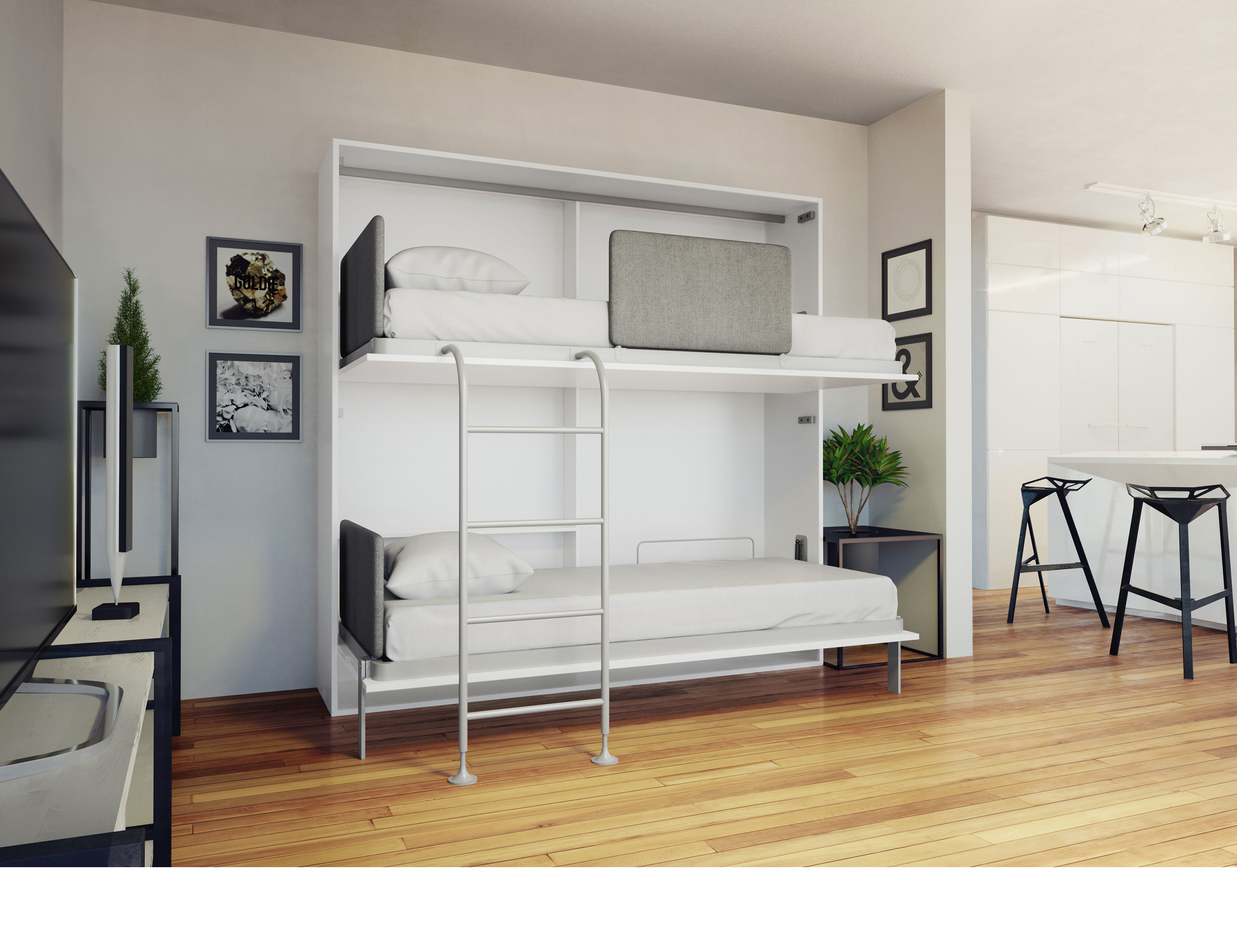 Picture of: Amore Flat Side Folding Wall Bunks With Desk Expand Furniture