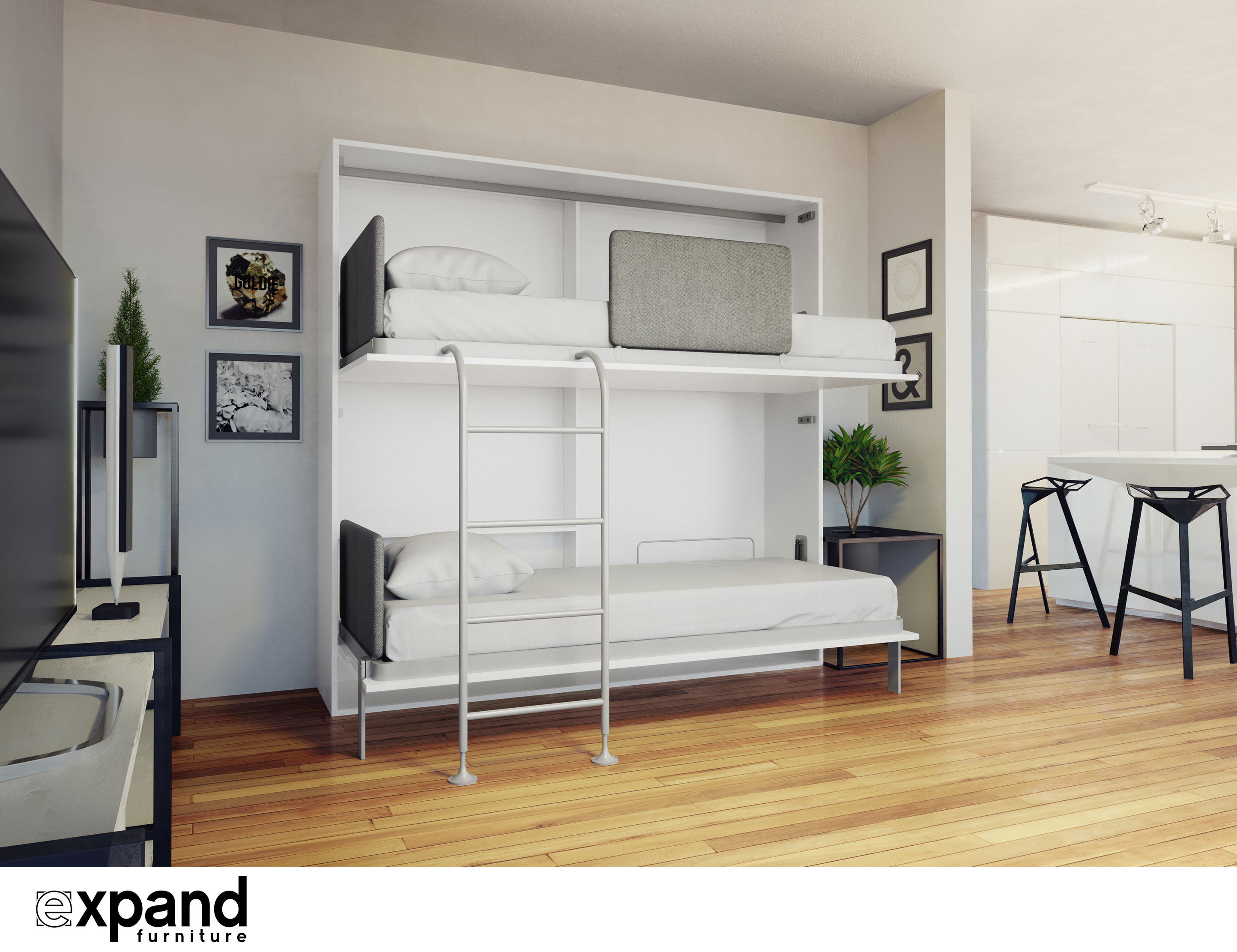 Amore Flat Side Folding Wall Bunks with Desk