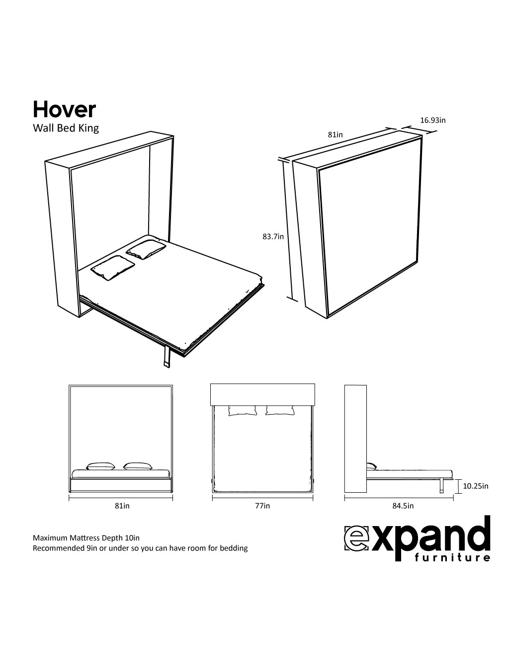 Hover modern king murphy bed expand furniture folding tables hover modern king murphy bed expand furniture folding tables smarter wall beds space savers ccuart Gallery