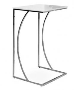 the Crescent tall white glass side table for sofa beds