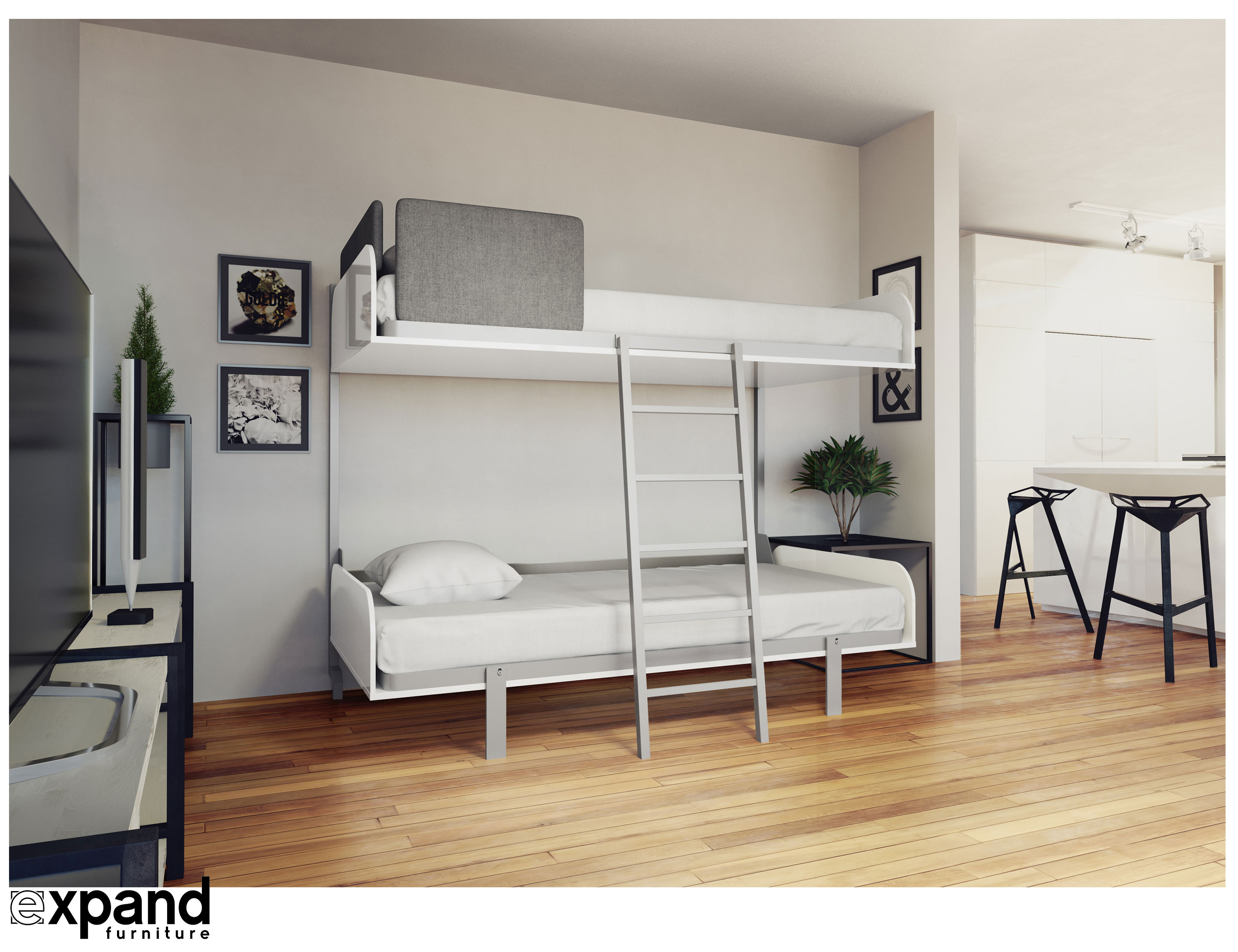 Hover compact fold away wall bunk beds expand for Compact beds