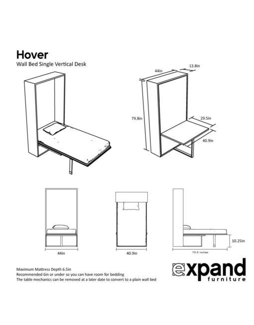 Hover Single Desk vertical dimensions