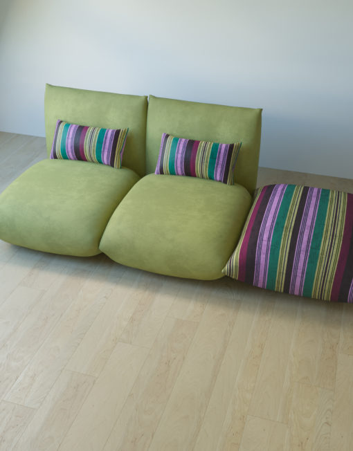 2 apple green basso seats with stripe ottoman